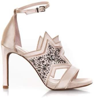 Lola Cruz Pink Satin Sandals With Glittered Star Detail