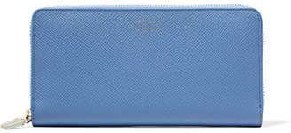 Smythson Panama Textured-leather Continental Wallet - Sky blue