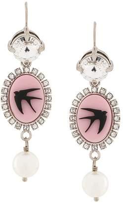 Miu Miu swallow cameo drop earrings