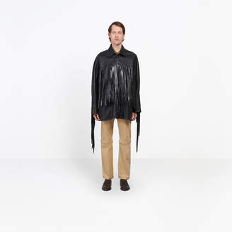Balenciaga Soft calfskin fringed jacket