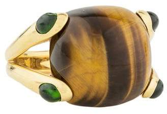 Verdura 18K Tiger's Eye & Tourmaline Candy Ring