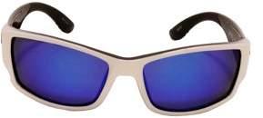 Strike King Lures SK Plus Ouachita Sunglasses Shiny White Two Tone Black/Gray Frame, Multi Layer White Blue Mirror Lens