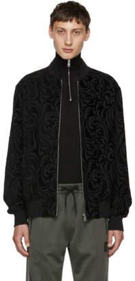 Versace Black Jacquard Brocade Bomber Jacket