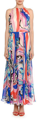 Emilio Pucci High-Neck Sapphire Silk Maxi Dress