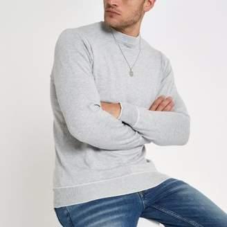 River Island Grey tipped crew neck slim fit sweatshirt