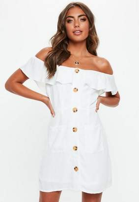Missguided White Bardot Frill Button Front A Line Dress