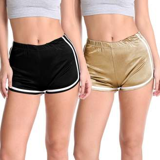 Velius Women's Shiny Workout Pants Sports Running Yoga Shorts