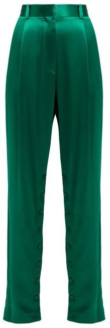 Hillier Bartley - High Rise Silk Trousers - Womens - Green