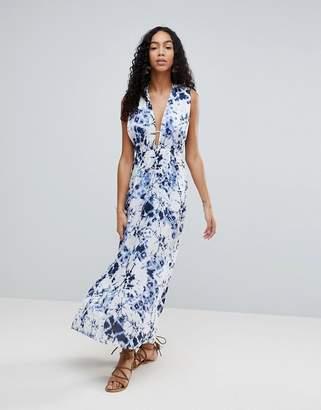 Liquorish Tie Dye Maxi Beach Dress With Side Split