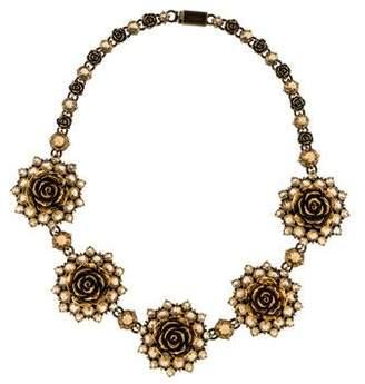 Prada Crystal Floral Collar Necklace