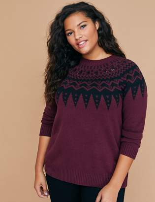 Lane Bryant Fair Isle Sweater with Sequins