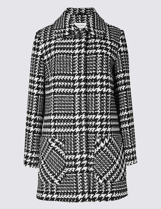 M&S Collection Wool Blend Checked Peacoat