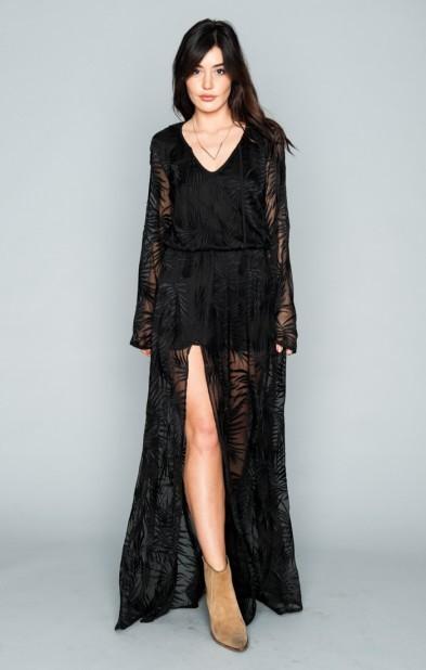 Juliet Maxi Dress ~ Leafy Luxe Black