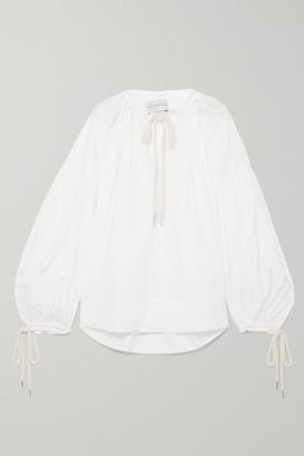 Lee Mathews - Elsie Gathered Stretch Cotton-poplin Blouse - White