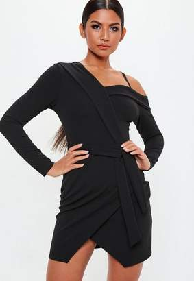 Missguided Black One Shoulder Tie Mini Dress