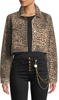Veronica Beard Cara Leopard-Print Cropped Jean Jacket