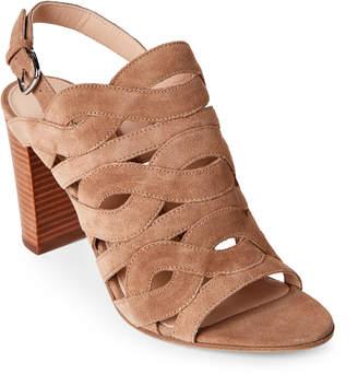 Via Spiga Sand Galore Cutout Block Heel Slingback Sandals