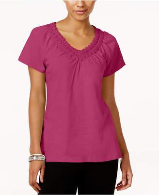 Karen Scott Petite Crochet-Neck Cotton Top, Created for Macy's