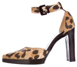 Casadei Leopard Printed Ankle Strap Pumps $75 thestylecure.com