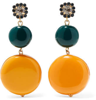 Marni Gold-tone, Resin And Crystal Earrings - Orange
