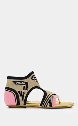 Prada Women's Metallic Logo-Jacquard Thong Sandals - Begonia+Ne