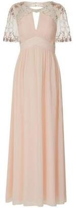 Dorothy Perkins Womens **Little Mistress Nude Plunge Mesh Maxi Dress