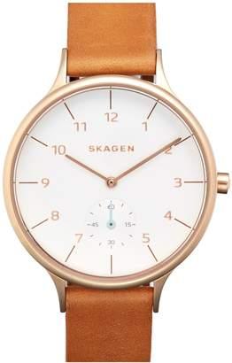 Skagen 'Anita' Leather Strap Watch, 34mm