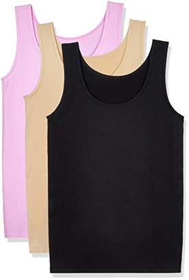 Layla's Celebrity 3 Pack Women's Seamless Basic Layer Tank Top Nylon Spandex