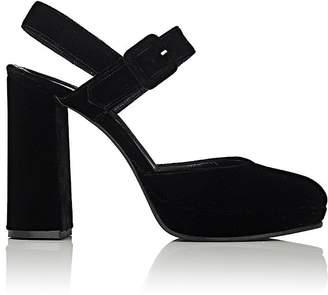 Barneys New York Women's Velvet Platform Ankle-Strap Sandals $325 thestylecure.com