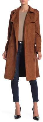 FAVLUX Faux Suede Side Tie Coat