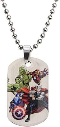 Marvel Comics Boys' Stainless Steel Avenger Characters Dog Tag Chain Pendant Necklace