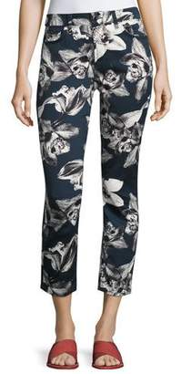 7 For All Mankind Jen7 by Orchid-Print Cropped Skinny Jeans, Navy