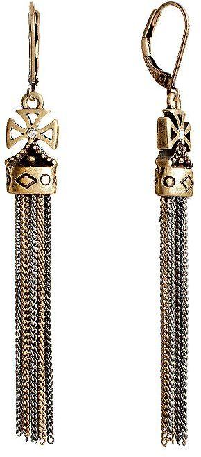 Rock & Republic Rock and republic tri-tone simulated crystal cross fringe drop earrings