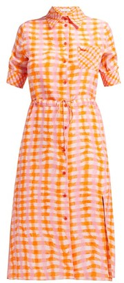 Altuzarra Vittoria Gingham Silk Shirtdress - Womens - Orange Multi