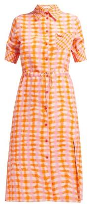 Altuzarra Vittoria Gingham Silk Shirtdress - Womens - Orange Multi
