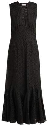 Raey Broderie Anglaise Fishtail Dress - Womens - Black