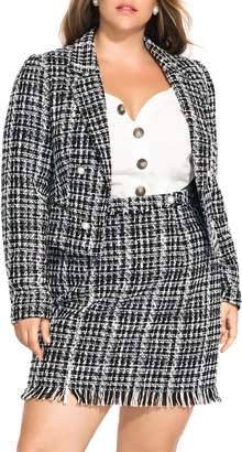 City Chic Boucle Tweed Blazer