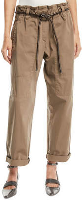 Brunello Cucinelli Paperbag-Waist Straight-Leg Cotton Pants w/ Cord Belt