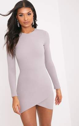 PrettyLittleThing Dove Grey Long Sleeve Wrap Skirt Bodycon Dress