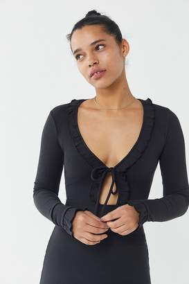 Urban Outfitters Gemma Ruffle Tie-Front Cut-Out Mini Dress