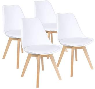 Furmax Mid Century Modern DSW Dining Chair Upholstered Side Chair with Beech Wood Legs and Soft Padded Shell Tulip Chair for Dining Room Living Room Bedroom Kitchen