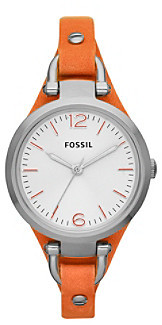 Fossil Women's Georgia Watch in Stainless Steel with Orange Leather Strap