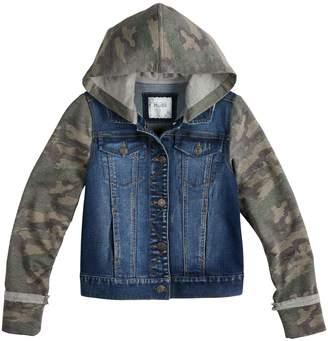 Mudd Girls 7-16 Knit Sleeve Denim Jacket