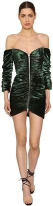 Laquan Smith Zip-Up Shiny Stretch Velvet Mini Dress