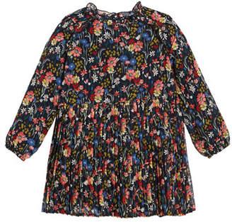 Mayoral Long-Sleeve Floral Chiffon Dress, Size 3-7