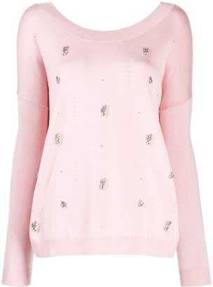 Liu Jo crystal-embellished jumper
