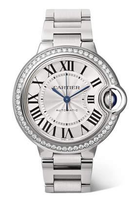 Cartier Ballon Bleu De Automatic 36mm Stainless Steel And Diamond Watch - Silver