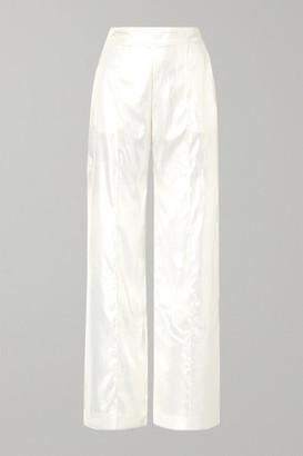 Michael Lo Sordo Metallic Velvet Wide-leg Pants - Ivory