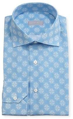 Stefano Ricci Medallion Cotton-Silk Dress Shirt, Blue $700 thestylecure.com