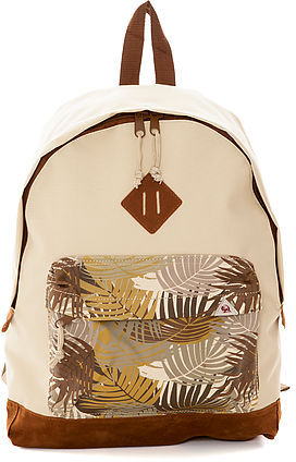 Camo Bellfield The Akola Canvas Fern Panel Rucksack in Stone